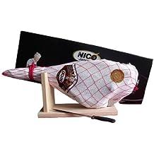 Spanischer Serrano Paleta Schinken Set mit Schinkenhalterung und Messer ideales Geschenk für jeden Anlass