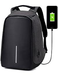 FRISTONE Mochila portátil Anti-theft Business Laptop Backpack Casual mochila para viajar escuela trabajo con USB puerto de carga (Negro)