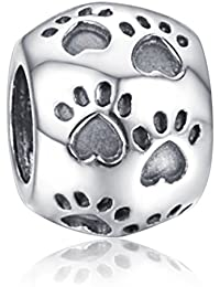 "Andante-Stones original, plata de ley 925 sólida, cuenta ""Patitas de animales"", elemento bola para pulseras modulares European Beads + saco de organza"
