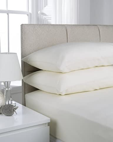 Hamilton McBride 68 Pick Polycotton New Ivory King Size Fitted Sheet (Pillowcases Sold Separately)