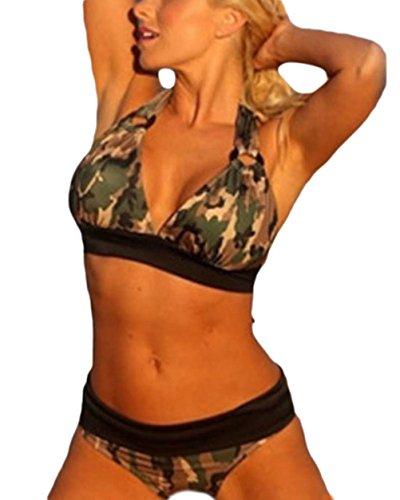 Tankini donna estivi vintage mimetica stampa costumi da bagno due pezzi giovane grazioso eleganti backless collo halter moda mare piscina bikini swimsuit women (color : armygreen, size : xl)