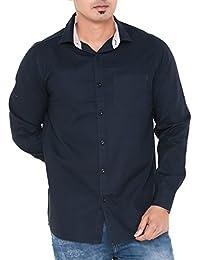 [Sponsored]Twist Mens Semi-Casual Slim Fit Shirt/Long Sleeve Cotton Shirts/Full Sleeve Shirts/Plain Dress Shirts, Navy Blue,