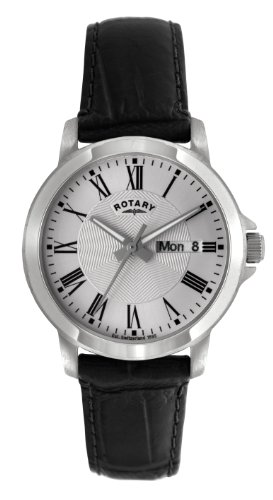 Rotary Men's Quartz Silver Dial Analogue Display and Black Leather Strap GS02820/21