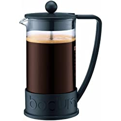 Bodum BRAZIL Kaffeebereiter (French Press System, Permanent Edelstahl-Filter, 1,0 liters) schwarz