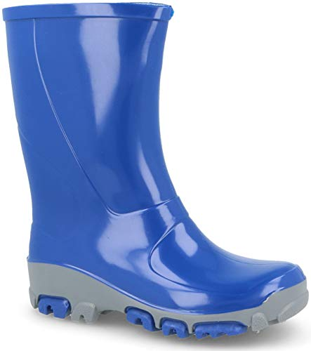 Muflon04 Kids Boys Girls Wellington Boots Rainy Snow Wellies - Silver ions Ag+