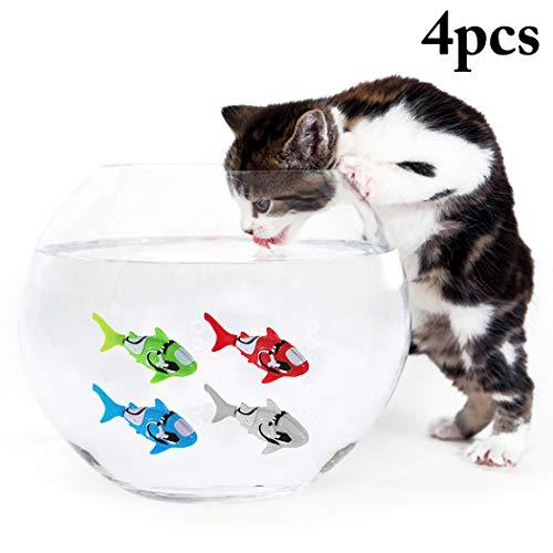 Legendog 4 STÜCKE Katzenspielzeug Kreative Shark Wasser Aktiviert LED Schwimmen Fisch Spielzeug Roboter Fisch Spielzeug - Wasser Shark