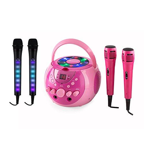 auna SingSing schwarz + Dazzl Mic Set schwarz und pink • Karaokeanlage • CD-Player • Wiederholfunktion • 2 x Kara Dazzl Mikrofon & 2 x Mikrofon • LED Lichter am Mikrofon-Griff • 3m Kabel
