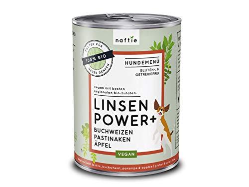naftie veganes Hundefutter Bio Linsen Power+ | Nassfutter Menü mit Linsen, Buchweizen, Pastinaken & Äpfel | rein pflanzliche Zutaten | glutenfrei | getreidefrei | 400 g Dose