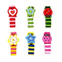 Toyvian 6PCS Wooden Watch Toy Stretchable Cartoon Watch Toy for Kids