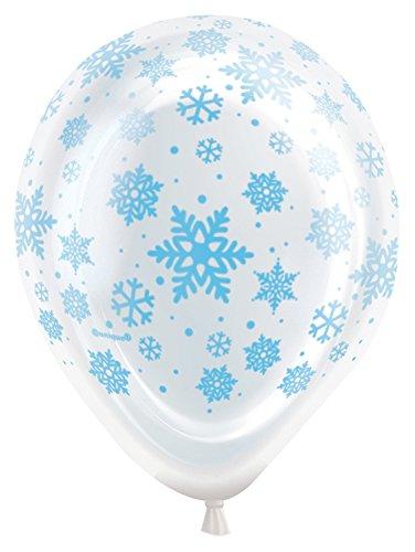 Unique Party Supplies Luftballons aus Latex mit Schneeflocken, LED-Beleuchtung, 25,4cm, 5Stück (Schneeflocken Latex)