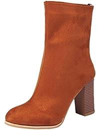 Botas de mujer Zapatos de mujer tacones altos Botines de mujer Señoras Moda Hebilla Otoño Invierno Faux Calentar Cabeza acentuada Casual Martín Zapatos LMMVP