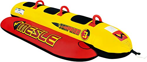 MESLE Skibob Torpedo, 3 Personen Towable-Tube, Fun-Tube, rot gelb, incl. Reparaturset, Bananen-Boot, aufblasbar, Kinder & Erwachsene, Speed-Wassergleiter, 840 D Nylon, sicher & kippstabil -