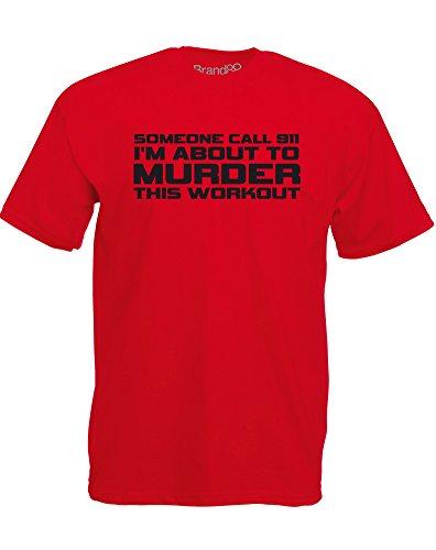 Brand88 - Murder This Workout (911), Mann Gedruckt T-Shirt Rote/Schwarz