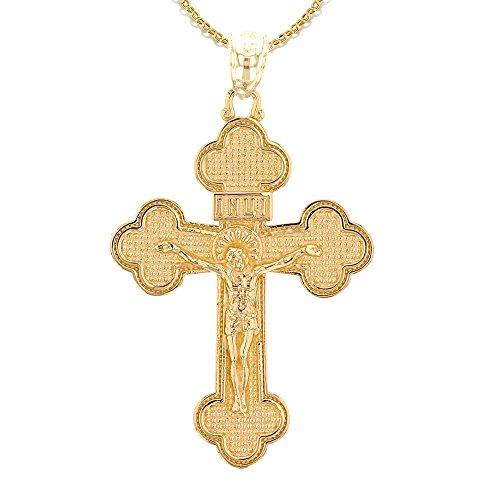 10 Karat Gelbgold Eastern Orthodox Kruzifix Kreuz Damen Anhänger Halskette (Kommt mit eine 45 cm kette)