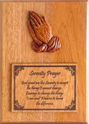 Wooden praying hands Serenity Prayer wall plaque gift