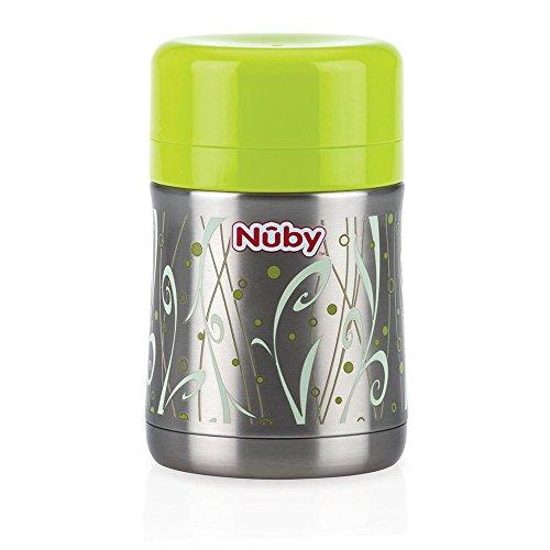 Nuby ID5470 Thermo Essensbehälter mit Löffel und Aufbewahrungsfach für Trockennahrung, 450ml