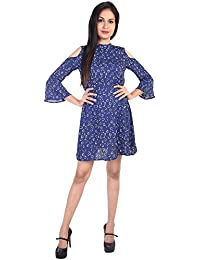 f5f9389a9ae GOODWILL Women s Casual Wear Blue Poly Crepe 3 4th Sleeve Printed Dress