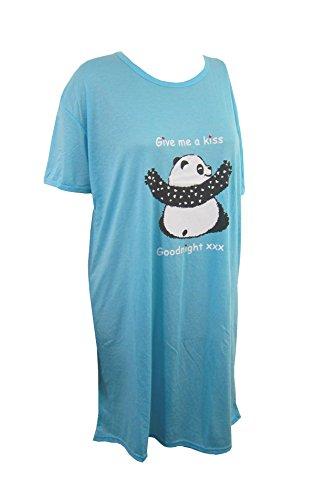 CATTYB'S Damen Nachthemd, kurz, mehrere Farben und Logos wählbar - Blue give me kiss