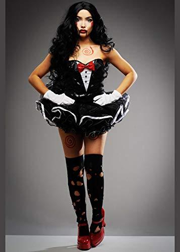 Womens Black Pailletten SAH Marionette Stil Kostüm Small (UK 8-10)