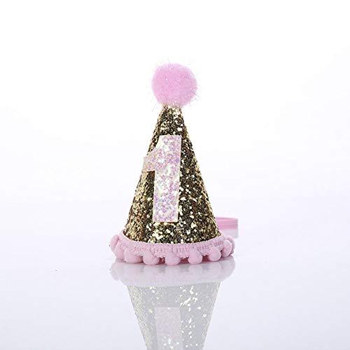 Haar tragen 1. Geburtstag Kegel Sparkle Tiara elastische Kopfband Prinzessin Haarteile Krone Hut für Kinder Mädchen Babys Baby Foto Party ()