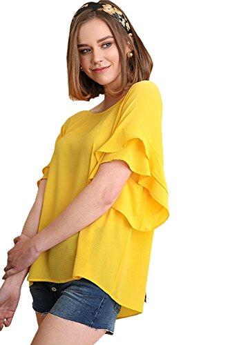 Layered Tee Top (Umgee Damen Bohemian Layered Rüschen Sleeve Bluse Tunika Top - Gelb - Groß)