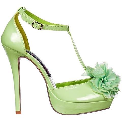 nlineshoe señoras Mujeres T Bar Peep Toe Stiletto - detalle de la flor - verde pastel