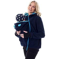 3in1 Tragejacke Umstandsjacke mit süssen Bärchen Ohren für Tragetuch Babytrage Fleece für Baby und Mama 46 (S/M (36/38), Dunkelblau/Türkis)