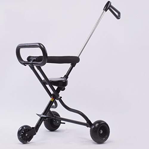 Carrito de bebé Marco de la aleación de aluminio del viaje de la expedición del paseo del bebé, amortiguador de esponja altamente elástico, durable y cómodo. negro-6.59 (Color : A)