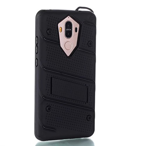 EKINHUI Case Cover Ultra Thin Slim Dual Layer PC + Soft TPU Back Schutzhülle Case [Shockproof] mit Kickstand für Huawei Mate 9 ( Color : Black ) Black