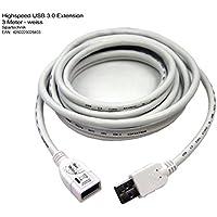 USB 3.0 Verlängerungskabel 3 Meter Länge mit USB Stecker TYP A Kupplung A - USB Extension Cable Hi-Speed USB 3 für extrem schnelle Datenverbindungen zb Lightning Fotografie Datenübertragung Video - 3M - High-Speed Kabel - schwarz white weiss