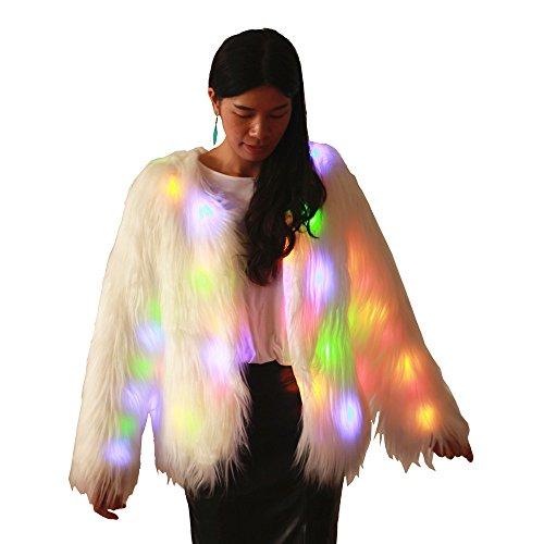 Haafee LED-Kleidung verdickt Pelz-warme Mäntel mit Kapuzen-Party-Kostüme Frauen-Jacke Mehrfarbige helle Faux-Pelz-Weihnachtsmantel,weiß Gr. X-Large (Kapuze Pelz Faux Jacke)