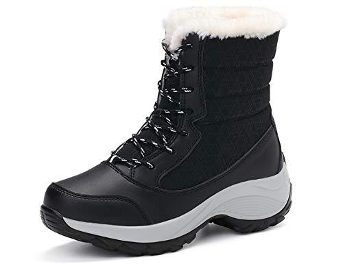 GNEDIAE Damen Wasserdicht Stiefeletten Plüsch Warm Gefütterte Winterstiefel Plateau Freizeitschuhe Schneestiefel Gepolsterten Schuhe Boots Winter Schuhe