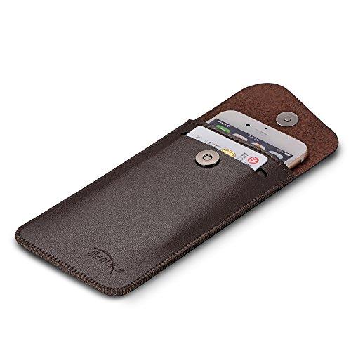 tinxi® Universal dünnes Kunstleder Tasche (4,0-4,7 Zoll) für iphone 6 6s, 5 5s,Asus Zenfone 5,Sony Xperia Z5 compact,Samsung galaxy J5 usw.Schutz Hülle in hellbraun bruan