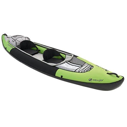 41x8NTpI5 L. SS500  - Sevylor Inflatable Kayak Yukon, 2 man Canadian Canoe, Sea Kayak with Bag, Manometer and Fin, 382 x 98 cm