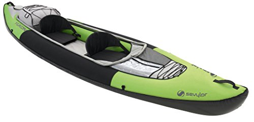 Sevylor Inflatable Kayak Yukon, 2 man Canadian Canoe, Sea Kayak with Bag, Manometer and Fin, 382 x 98 cm