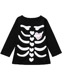 JYC Camisetas de Manga Larga para Niña,Manga Larga para Niños,Niñito Infantes Bebé Chicos Niña EsqueletoImpresión Tops Halloween Disfraz Trajes Conjunto