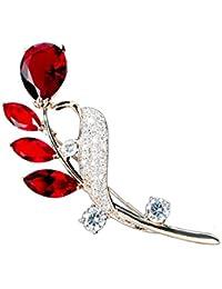 Hanie mujeres Broche Rosegold Rubin flor Pin blanco y rojo circonitas cúbicas Swarovski Elementos Cristal apto para vestir camiseta Sweater Coat Fashion joyas como regalo de Navidad