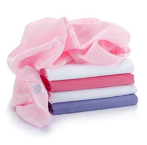 Mulltücher / Mullwindeln / Spucktücher, 5 Stück, 70 x 70 cm - farbig rosa, doppelt gewebt, verstärkter Rand, Öko-Tex Standard 100, Maschinenwäsche bis 60° C