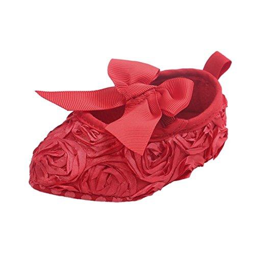 Saingace Krabbelschuhe Baby-Mädchen-Bowknot-weiche alleinige Prinzessin-Schuh-weiche Schuhe flache Schuhe Rot