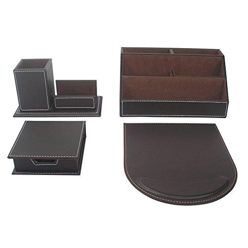 KINGFOM 4pcs Leder büro Schreibtisch Set -- Inklusive Schreibtisch Organisator ,Mauspad, Stifthalter mit Visitenkartenhalter und Zettelbox (T41-4-Braun) -