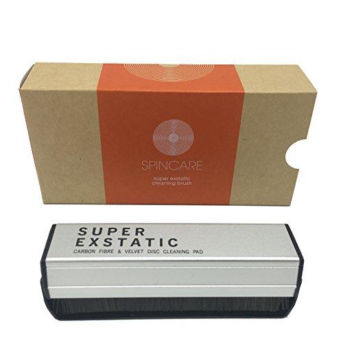 Cepillo Super Exstatic, de fibra de carbono antiestática y terciopelo, para limpiar el polvo de discos de vinilo