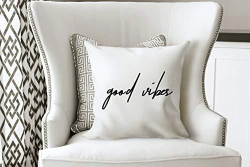 Prz0vprz0v - federa per cuscino con scritta good vibes, per divano, camera da letto, 45,7 x 45,7 cm