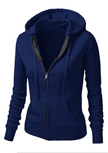 Damen Herbst und Winter Mit Kapuze Reißverschlussjacke Langarm Elastisch Hoodie Top - 4 Farben im (Kleid Pioneer Muster)