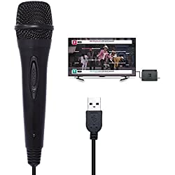 Womdee Microphone Commutateur USB Filaire pour Karaoke PS4 Slim / PS4 Pro / PS4 / Xbox 360 / Nintendo Switch/Wii U/PC Longueur de Ligne 3M (20,5 x 5 cm)