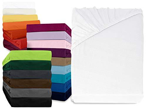 npluseins klassisches Jersey Spannbetttuch - erhältlich in 34 modernen Farben und 6 verschiedenen Größen - 100% Baumwolle, 140-160 x 200 cm, weiß - Weißes Spannbetttuch