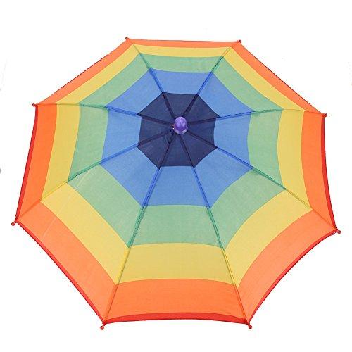 Dilwe Regenschirmhut, 3 Farben, faltbar, für den Außenbereich, Kopfbedeckung, für Golf, Angeln, Camping, Colorful Stripe