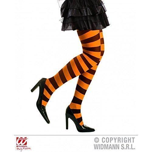 chwarz gestreift für Damen in XL für Fasching / Halloween als Halloweenkostüm oder Hexenkostüm Zubehör (Orange Und Schwarze Strumpfhose)