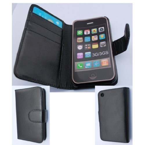 Black PU Leather Book Flip Card Holder Wallet Case Cover Pouch For Apple iPhone 3GS / 3G From My Fone UK