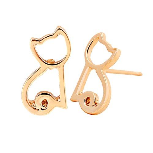 URBAN SHe° Katze Kätzchen Silber vergoldet Kupfer Ohrstecker sitzen Katze Cut-Out Ohrstecker