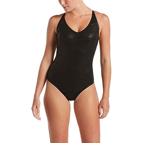 Nike Damen Badeanzug Shine Stripe Crossback One Piece - Mehrfarbig - Large - Badeanzug Damen Nike